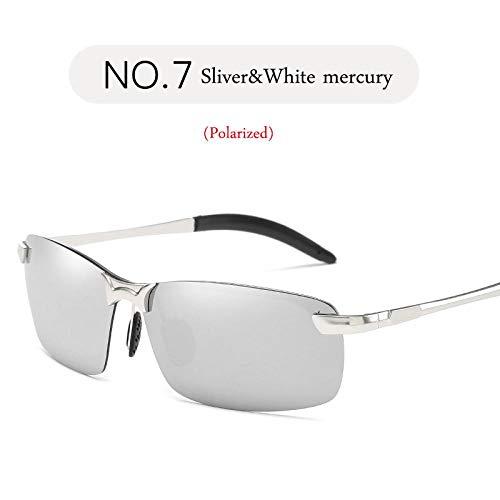 Gafas de Sol Sunglasses Gafas De Sol Polarizadas Hombres Diseñador De La Marca Gafas De Sol De Metal Clásicas Mujeres/Hombres Viajes Al Aire Libre Conducción Astilla Blanco Mercurio