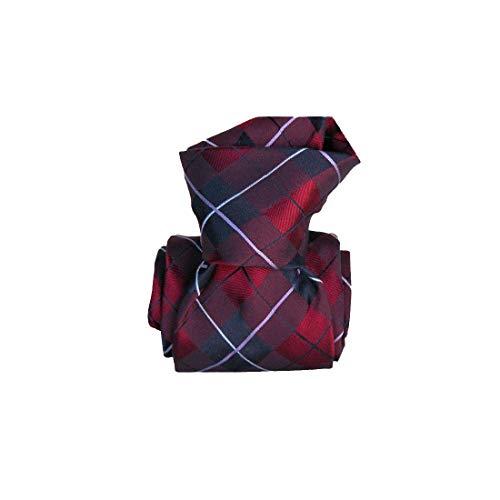 Segni et Disegni. Cravate classique. Southampton, Soie. Rouge, carreaux. Fabriqué en Italie.