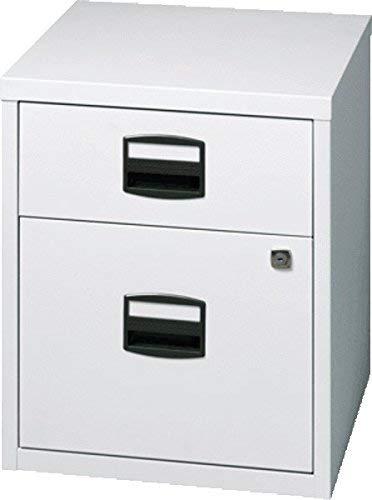 Bisley Home mobiler Beistellschrank PFA, 1 Universalschublade, 1 HR-Schublade, Metall, 645 Lichtgrau, 40 x 41.3 x 52.8 cm