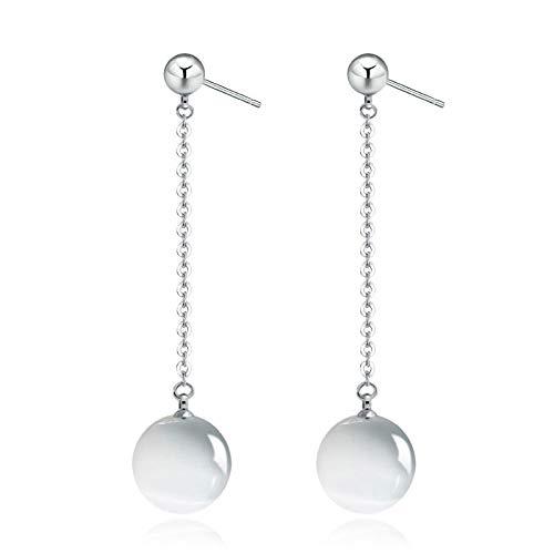 Pendientes largos con borla de perlas plateadas, ojo de gato pendientes de piedra lunar coreanos 4 * 1 cm de plata