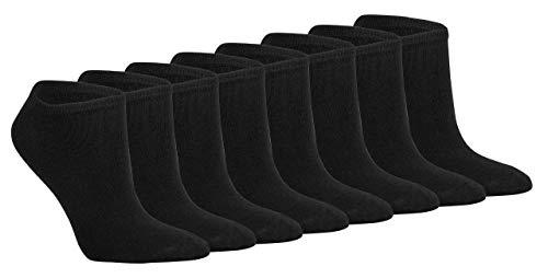 Ges&heitsstrumpf 8 Paar 100 prozent Baumwolle Sneaker Socken Füsslinge ohne Naht bis, 39-42, Schwarz