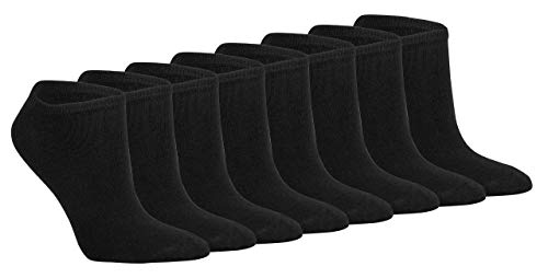 Gesundheitsstrumpf 8 Paar 100% Baumwolle Sneaker Socken Füsslinge ohne Naht Schwarz bis Größe 58 (43-46)
