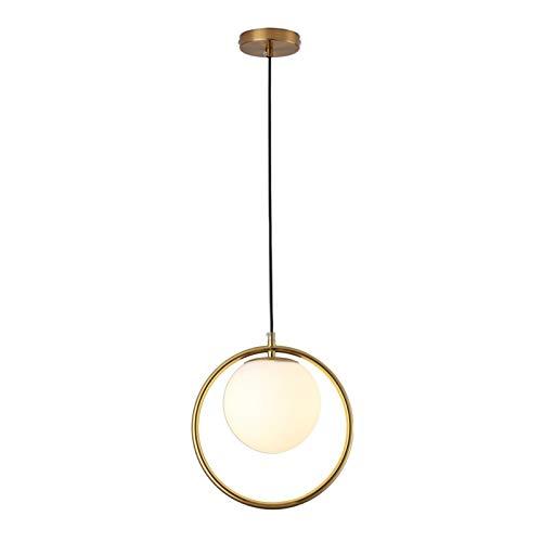 ASPZQ Lampes À Suspension Boule de Verre Lampe À Suspension LED Moderne Dorée pour La Maison Salon Loft Industriel Décor Luminaire