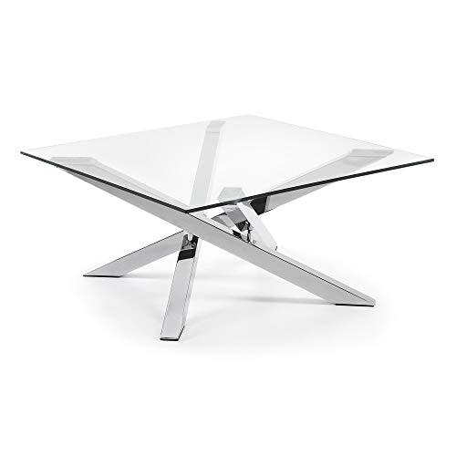 LF - Table basse Mikado table basse verre et acier chromé