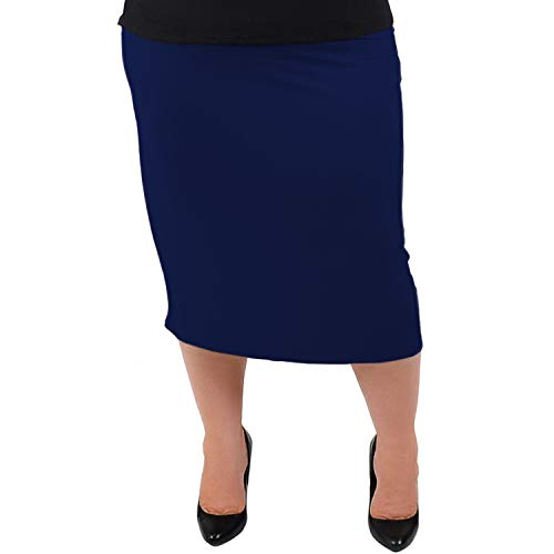 Stretch is Comfort Women's Plus Size Comfortable Soft Stretch MIDI Skirt Navy Blue 3X