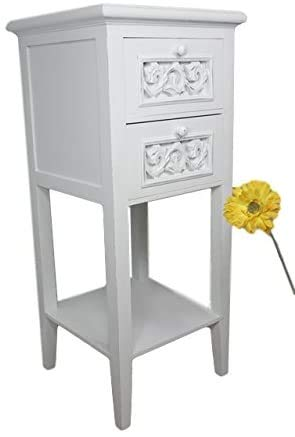 Telefontisch, weiß, Holzlandhausstil, mit schmalen Schubladen,White