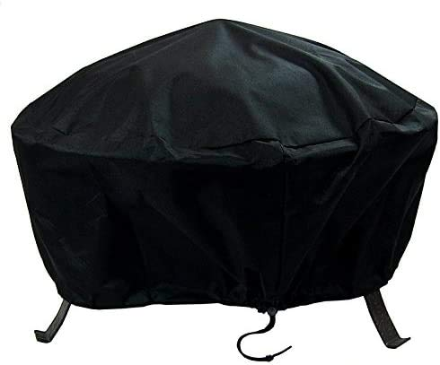 MEIOUKA Round Outdoor Fire Pit Cover Waterproof Windproof Furniture Table Cover Heavy Duty Black Round Patio Fire Pit Cover - 36 Inch