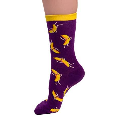 Crazy Sock Tanzende Bananen Socken - Lustige Verrückte Baumwollsocken mit Crazy Design Geschenk