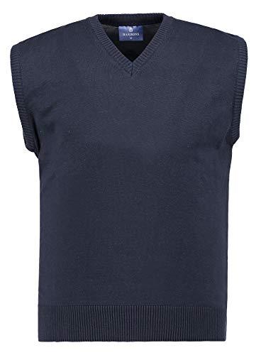 BARBONS Herren Pullunder - V-Ausschnitt - Modern-Fit - Hochwertige Baumwollmischung - Feinstrick-Weste - Navy (Pullunder) L