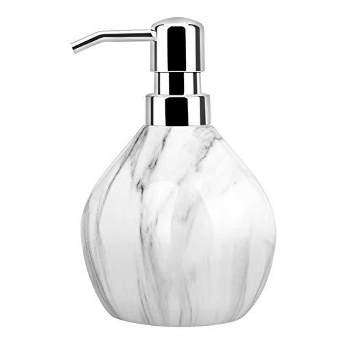 Luxspire Seifenspender, 450 ml Flüssigseifen Spülmittel Spender aus Harz, Elegant Zubehör Deko für Bad Badezimmer Waschbecken Kitchen - Birnenförmig & Tintenmuster