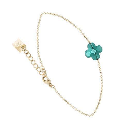 Zag Bijoux Faceted Clover Bracelet Duck Egg Blue (Gold)