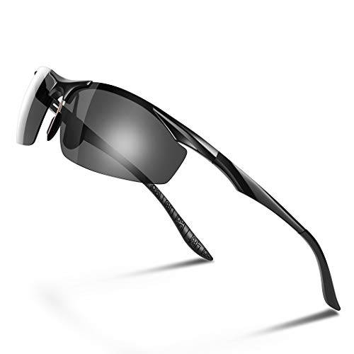 Glazata 偏光レンズ スポーツサングラス メンズ UV400 紫外線カット 超軽量 アルミニウム マグネシウム合金 スポーツサングラス ドライブ 野球 自転車 釣り ランニング ゴルフ 運転 昼間用