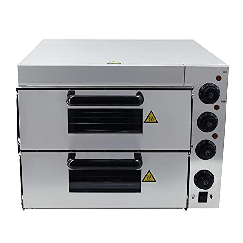 T-CAT Horno eléctrico para pizza de acero inoxidable, 3000 W, 2 cámaras, 350 °C, con 2 ladrillos refractarios, para gastronomía