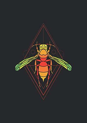 A4 Notizbuch liniert mit Softcover Design: Biene Wespe Fliege Kunst Insekt Geometrie Form: 120 linierte DIN A4 Seiten
