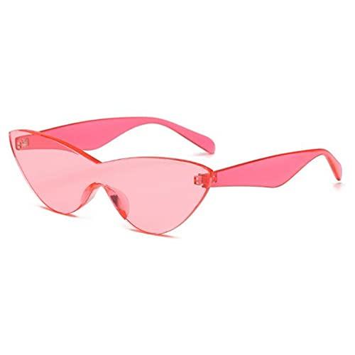 FSDFS Gafas de Sol de Color Caramelo para Mujer Gafas de Sol de Ojo de Gato sin Montura Verde Transparente para MujerGafas deHombre