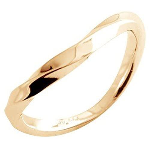 [アトラス]Atrus リング レディース 18金 ピンクゴールドk18 指輪 地金 ウェーブ ピンキーリング 23号