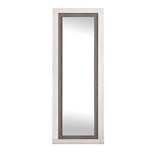 duehome Espejo de Pared, Espejo Rectangular, Espejo Mural con Luna, Modelo Lara, Acabado en Color Andersen Pino y Gris, Medidas: 60 cm (Ancho) x 180 cm (Alto) x 3,5 cm (Fondo)