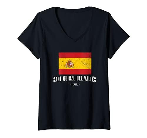 Mujer Sant Quirze del Vallès España | Souvenir Ciudad - Bandera - Camiseta Cuello V