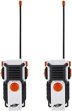 Sakar NERF Walkie Talkies for Kids Powerful 1000ft Range, Speakers, Rugged Design, Battery Powered, Outdoor Toys for Boys and Girls (Gray, Blue, & Orange)