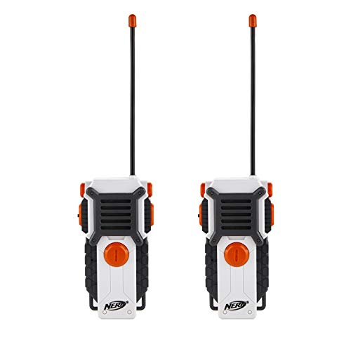 NERF Walkie Talkies for Kids by Sakar | Powerful 1000ft Range, Speakers, Rugged Design, Battery Powered, Outdoor Toys for Boys and Girls (White)