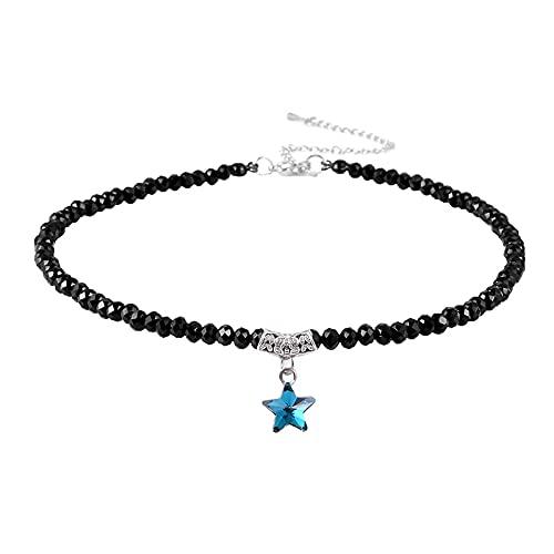 guodong Gargantilla De Cristal Negro para Niñas Adolescentes con Cuello De Estrella para Mujer, Gargantilla Gótica Ajustable, Joyería De Verano
