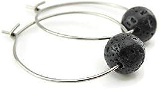 Stainless Steel Hoop Earrings, 8mm Black Lava Rock Essential Oil Diffusing Bead