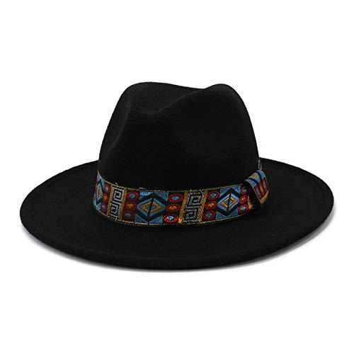 Sombrero De ala Recta Estilo Encaje Británico Confeccionado En Lana. Sombrero De Jazz Amarillo (22 Pulgadas) Que Es Muy Cálido Y Cómodo En Primavera, Otoño E Invierno.(Color:Norte)
