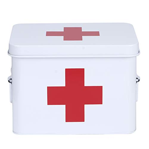 HERCHR Caja de Primeros Auxilios de 2 Niveles, Caja de Almacenamiento de medicamentos domésticos con Tapa para Almacenamiento de Kit de Emergencia Familiar, 8 x 6,1 x 6,3 Pulgadas