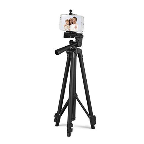 Hama Handy Stativ mit Fernauslöser (Stativ mit Handyhalterung für Selfies, durch 3D Stativkopf drehbar und neigbar im Quer- und Hochformat, ideal für Videoaufnahmen, für Smartphones bis 8,2cm Breite)