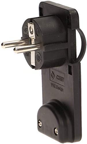 Orno OR-AE-1311 Flachsteckdose 230V / 50Hz, 16A, 47x90x45mm, Anschluss von Geräten hinter Möbeln, Schwarz
