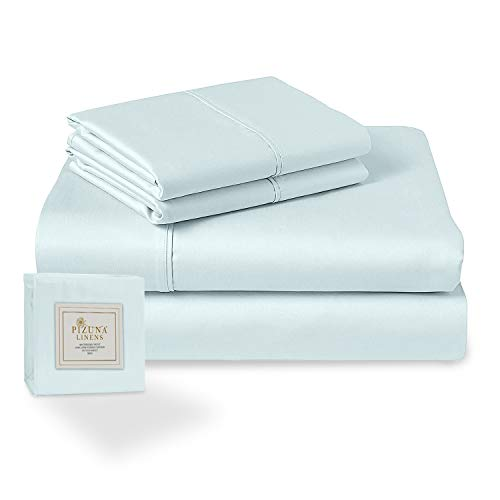 Pizuna 400 Thread Count Light Blue 6 Piece King Sheets Set Includes 2 Extra Pillow Cases, 100% Long Staple Cotton Soft Sateen Bed Sheets with Deep Pocket, Value Pack 6 pc Cotton Sheets King Baby Blue