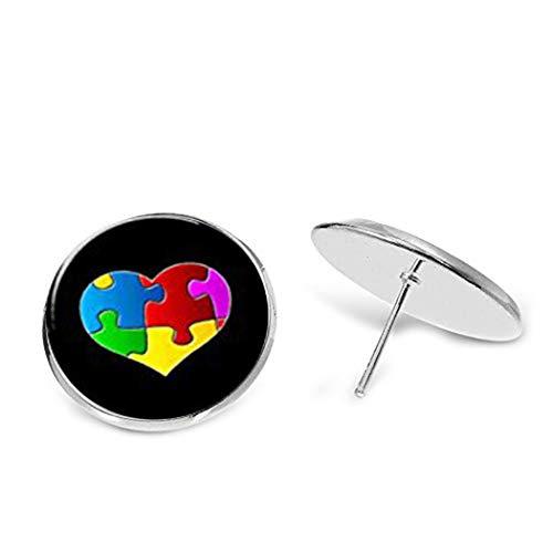 Elf House - Pendientes de cristal con forma de cúpula de autismo para conciencia de autismo, pendientes de corazón de autismo y joyas de autismo