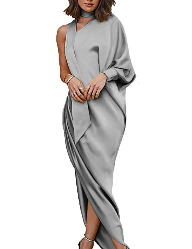 Boutiquefeel Damen Choker Eine Schulter Scrunch Slit Side Maxi Kleid Silbergrau XL