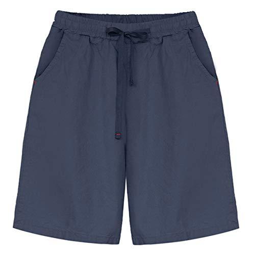 Fuwenni Women's Casual Elastic Waist Drawstring Knee Length Bermuda Shorts with Pockets Navy Blue US XL