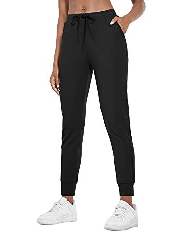 BALEAF Damen Jogginghose Leicht Baumwoll Sporthose Tapered mit Taschen Schwarz XL