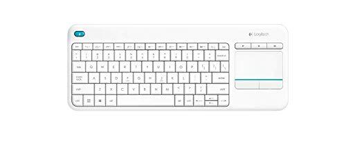 Logitech K400 Plus Teclado Inalámbrico con Touchpad para Televisores Conectados a PC, Teclas Especiales Multi-Media, Windows, Android, Ordenador/Tablet, Disposición AZERTY...