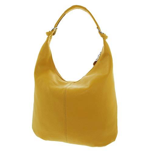 IO.IO.MIO echt Leder Schultertasche Damen Shopper Beuteltasche große Ledertasche Frauen gelb