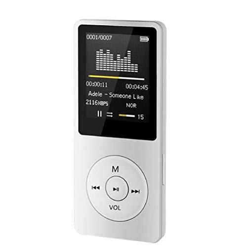STRIR Reproductor Portátil MP3/MP4 HiFi,Pantalla DE 1,8 Pulgadas LCD y Ranura para Tarjetas Micro SDHC,Apoyo Tarjeta de 64 GB de Micro SD de Alta Capacidad SD TF (Blanco)