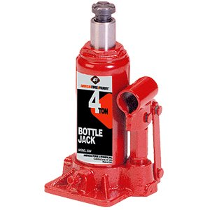 AFF Heavy Duty 4 Ton Bottle Jack, Manual, Machine Hardened Steel Saddles, Centered Pumps and Rams, 3504