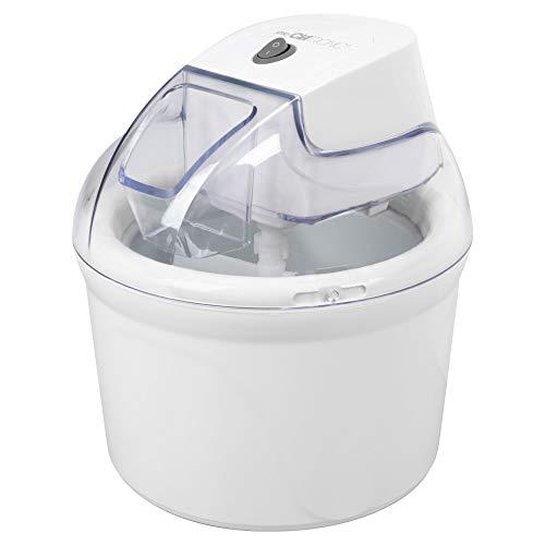 Clatronic ICM 3764 - Máquina de helados para preparar sorbetes, helados y yogur helado, hasta 1500 ml de helado, color blanco, 263956