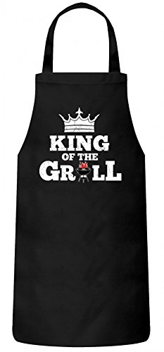 Grillen Grill Garten Party Frauen Herren Barbecue Baumwoll Grillschürze Kochschürze King of The Grill, Größe: OneSize,Schwarz