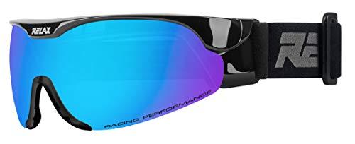 Relax Skibrille CROSS | Langlaufbrille | Biathlonbrille | Skatingbrille für Damen und Herren (Schwarz)