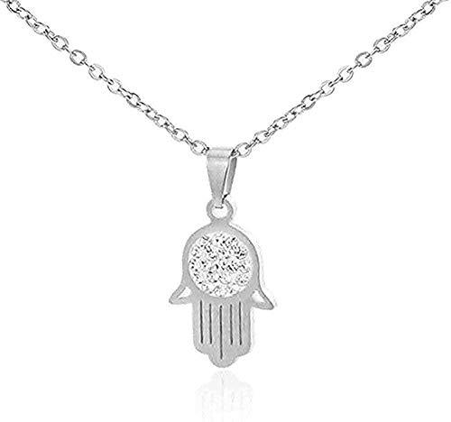 ZHIFUBA Co.,Ltd Necklace Fashion Jewelry Women Pendant Stainless Steel Palm Adjustable Full Zircon Pendant Necklace Women Jewelry