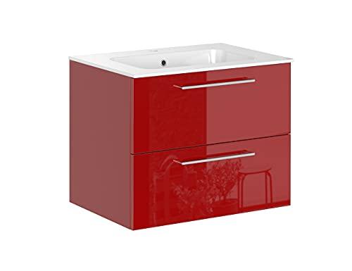 Iconico Home Essential Mobile Bagno sospeso con 2 cassetti e lavabo Integrato, Truciolato, Rosso Lucido, 75,5x49,5x59 cm