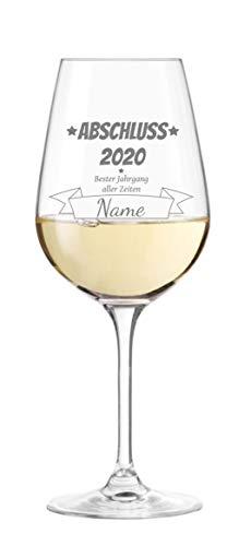 KS Laserdesign Leonardo Weinglas ''zum Abschluss'' mit persönlicher Gravur - Wunschname und Jahrgang wählbar, Abschluss Geschenk, bestandene Prüfung, Schulabschluss, Ausbildung, Geschenkidee