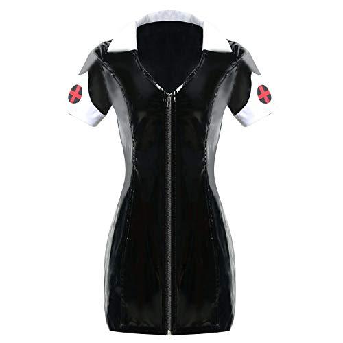 GGTBOUTIQUE - Disfraz de enfermera de PVC, color negro