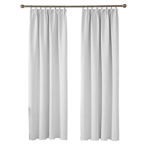 Deconovo Blickdicht Gardinen Vorhang Wohnzimmer Verdunkelungsgardinen mit Kräuselband 245x140 cm Grau Weiß 2er Set