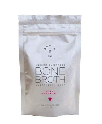 NT# Broth & Co Australian Beef Bone Broth with Beetroot Powder 100G -Our Favourite for pre or Post Work Out Bone Broth is a Natural Source of Collagen, Protein, Amino Acids