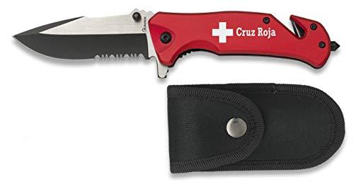 Navaja grabado CRUZ ROJA roja Seguridad Hoja 8,3 cm para Caza, Pesca, Camping, Outdoor, Supervivencia y Bushcraft Albainox 19759GR273 + Portabotellas de regalo