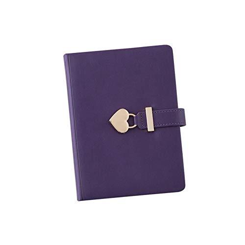 Cuaderno de viaje, Bloc de notas con bloqueo de corazón Vintage, Diario de viaje Cuaderno de bocetos con diario de bloqueo para estudiantes, regalos para niñas B6 (Purple)